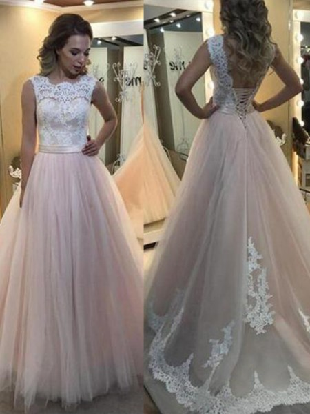A-Line/Princess Sleeveless Sweep/Brush Train Bateau Tulle Dresses