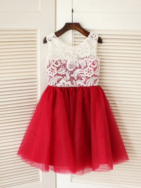 A-Line/Princess Sleeveless Scoop Tulle Knee-Length Flower Girl Dresses
