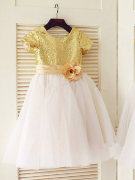 A-Line/Princess Short Sleeves Scoop Tulle Knee-Length Sequin Flower Girl Dresses