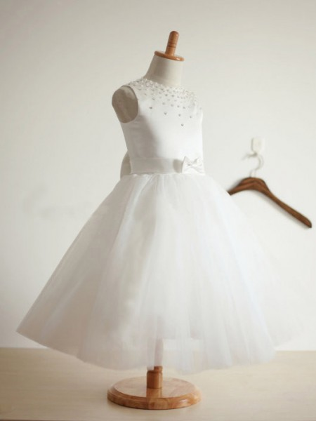 Ball Gown Sleeveless Jewel Tulle Tea-Length Bowknot Flower Girl Dresses