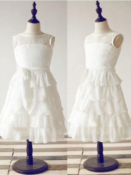 A-Line/Princess Sleeveless Scoop Chiffon Tea-Length Flower Girl Dresses