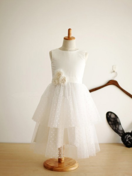 A-Line/Princess Sleeveless Jewel Tulle Tea-Length Hand-Made Flower Flower Girl Dresses