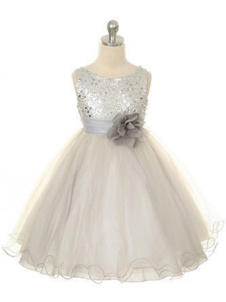 Ball Gown Sleeveless Jewel Tulle Tea-Length Hand-Made Flower Flower Girl Dresses
