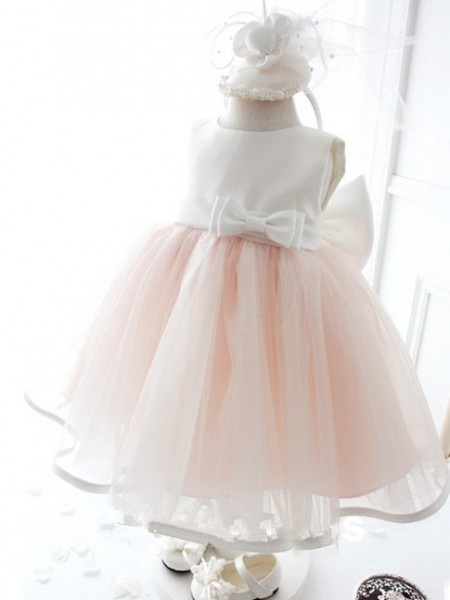 Ball Gown Sleeveless Jewel Organza Tea-Length Bowknot Flower Girl Dresses