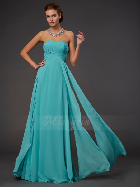 A-Line/Princess Sweetheart Floor-Length Sleeveless Chiffon Pleats Dresses