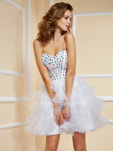 A-Line/Princess Sweetheart Short/Mini Sleeveless Organza Rhinestone Dresses