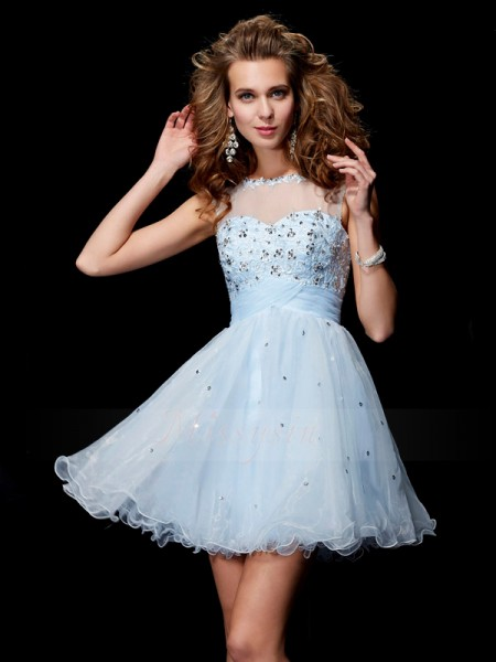 A-Line/Princess Scoop Short/Mini Sleeveless Elastic Woven Satin,Net,Tulle Beading Dresses