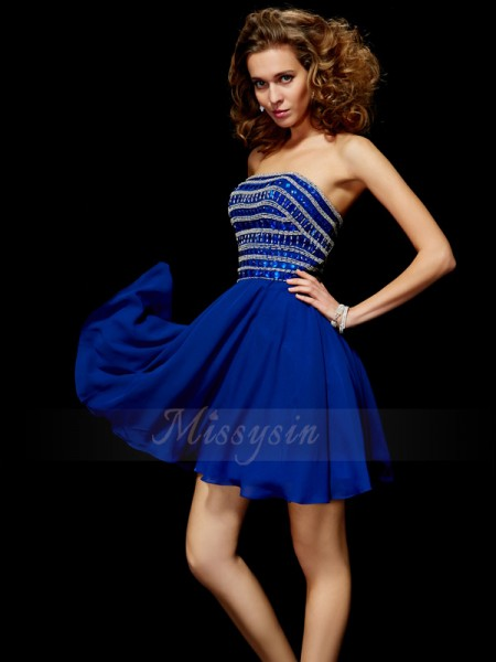 A-Line/Princess Strapless Short/Mini Sleeveless Chiffon Rhinestone Dresses