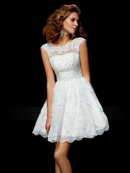 A-Line/Princess V-neck Short/Mini Short Sleeves Organza Applique Dresses