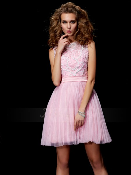 A-Line/Princess Scoop Short/Mini Sleeveless Elastic Woven Satin,Net Beading Dresses