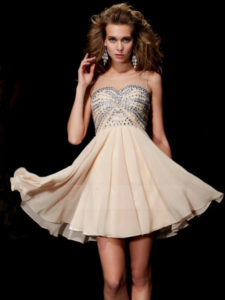 A-Line/Princess Scoop Short/Mini Sleeveless Chiffon Beading Dresses