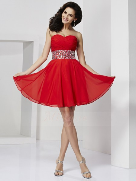 A-Line/Princess Sweetheart Short/Mini Sleeveless Chiffon Rhinestone Dresses