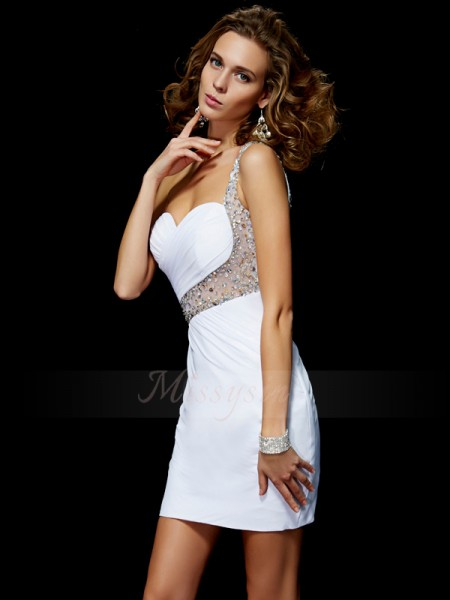 A-Line/Princess One-Shoulder Short/Mini Sleeveless Chiffon Sequin Dresses
