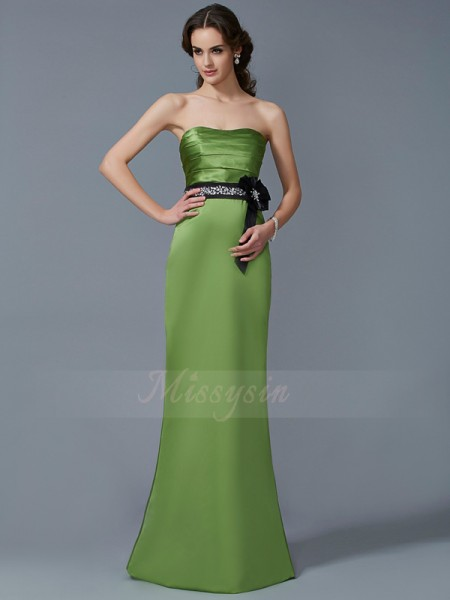Sheath/Column Strapless Floor-Length Sleeveless Satin Sash/Ribbon/Belt Dresses
