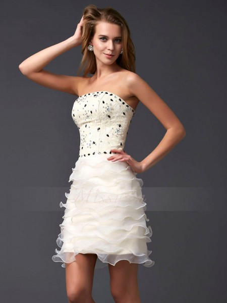 Sheath/Column Strapless Short/Mini Sleeveless Tulle Beading Dresses