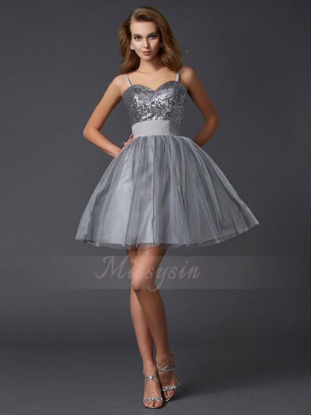 A-Line/Princess Spaghetti Straps Short/Mini Sleeveless Organza Dresses