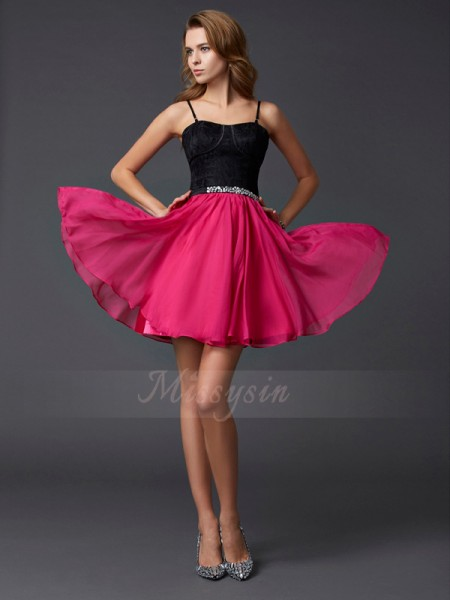 A-Line/Princess Spaghetti Straps Short/Mini Sleeveless Chiffon,Lace Dresses