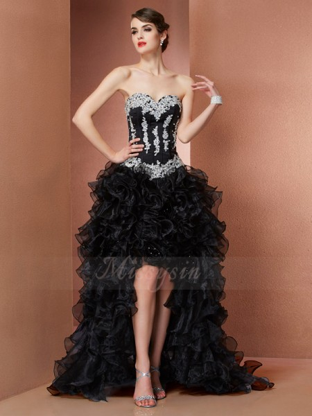 A-Line/Princess Sweetheart Asymmetrical Sleeveless Organza Beading,Applique Dresses