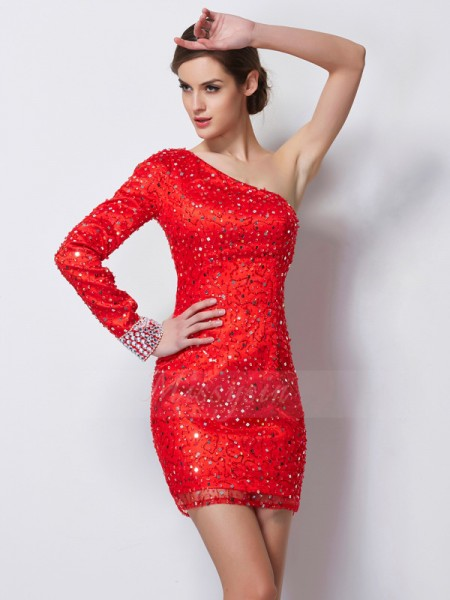 Sheath/Column One-Shoulder Short/Mini Long Sleeves Elastic Woven Satin Beading Dresses