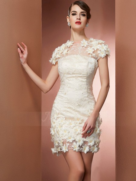 Sheath/Column High Neck Short/Mini Short Sleeves Satin,Lace Dresses