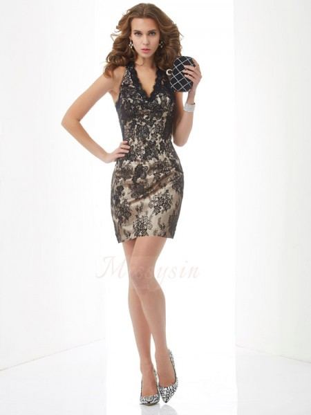 Sheath/Column Halter Short/Mini Sleeveless Lace Dresses