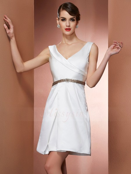A-Line/Princess Straps Short/Mini Sleeveless Satin Beading Dresses