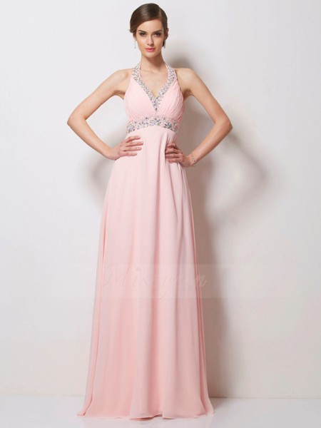 A-Line/Princess Halter Floor-Length Sleeveless Chiffon Beading Dresses