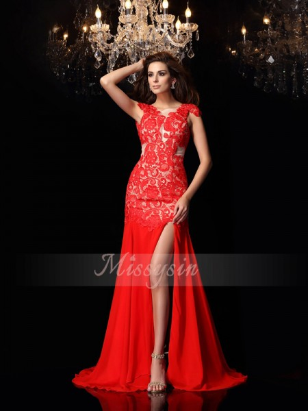 Trumpet/Mermaid High Neck Sweep/Brush Train Chiffon Sleeveless Lace Dresses
