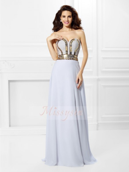 Empire Sweetheart Floor-Length Chiffon Sleeveless Pleats Dresses