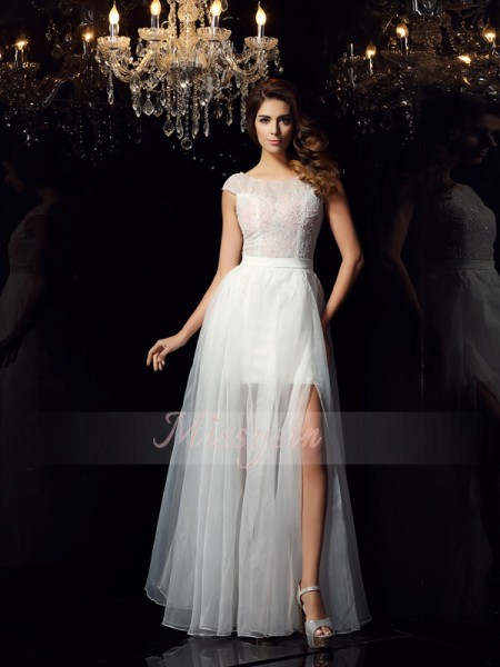 A-Line/Princess Scoop Floor-Length Tulle Short Sleeves Beading Dresses