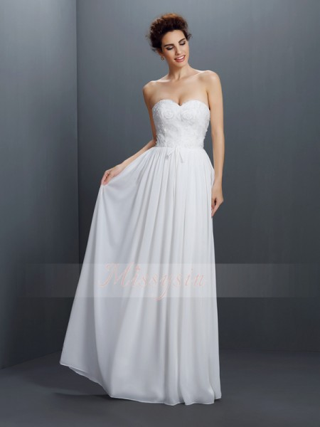 A-Line/Princess Sweetheart Floor-Length Chiffon Sleeveless Lace Dresses