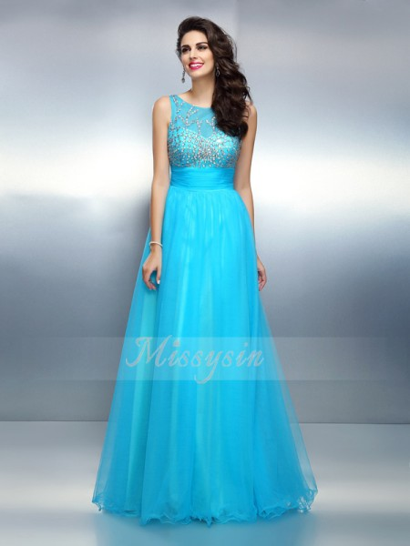 A-Line/Princess Bateau Floor-Length Elastic Woven Satin Sleeveless Beading Dresses
