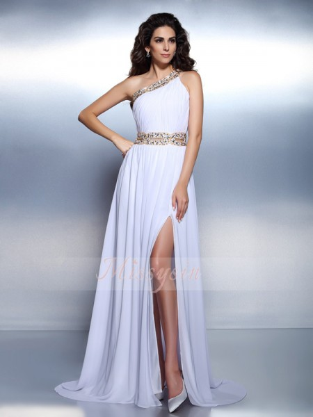A-Line/Princess One-Shoulder Floor-Length Chiffon Sleeveless Beading Dresses