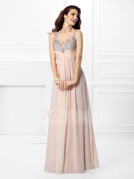 A-Line/Princess Straps Floor-Length Chiffon Sleeveless Beading Dresses
