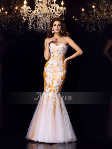 Trumpet/Mermaid Sweetheart Floor-Length Taffeta Sleeveless Applique Dresses