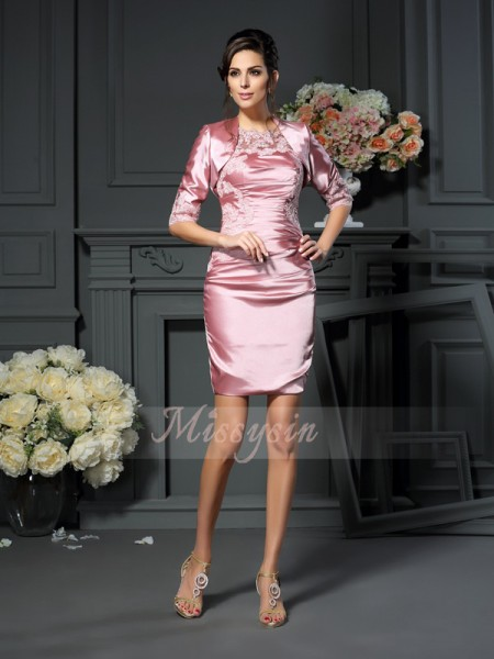 Sheath/Column Scoop Short/Mini Elastic Woven Satin Sleeveless Applique Mother of the Bride Dresses