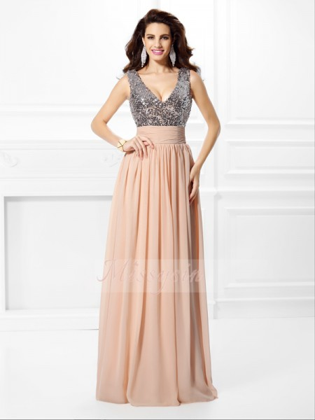 A-Line/Princess V-neck Floor-Length Chiffon Sleeveless Paillette Dresses