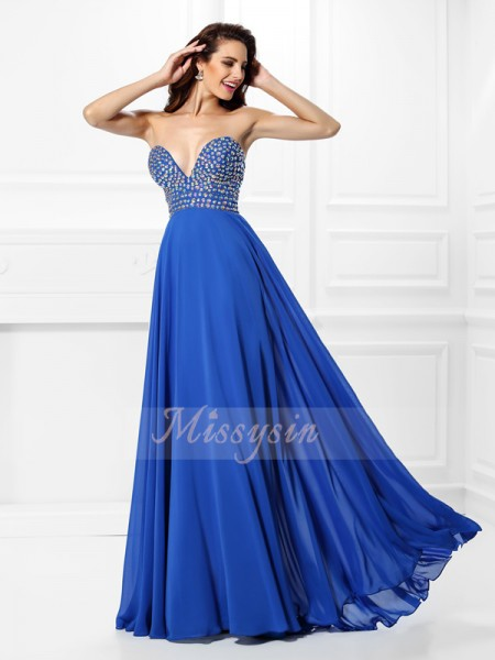 A-Line/Princess V-neck Floor-Length Chiffon Sleeveless Beading Dresses