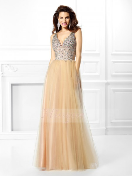 Ball Gown V-neck Floor-Length Satin Sleeveless Beading,Sequin Dresses