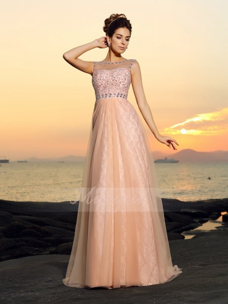 A-Line/Princess Bateau Floor-Length Chiffon Sleeveless Lace Dresses