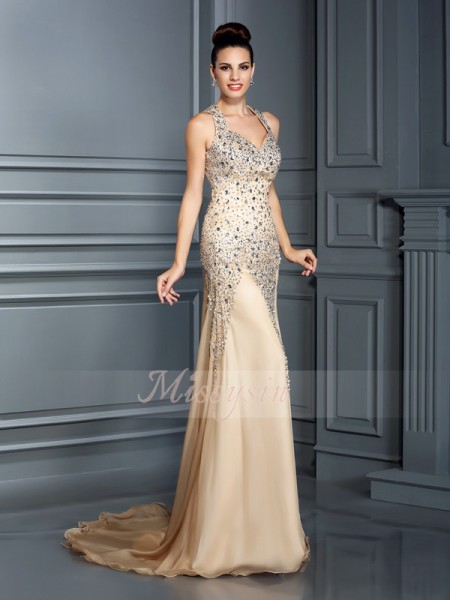 A-Line/Princess Straps Court Train Chiffon Sleeveless Beading Dresses