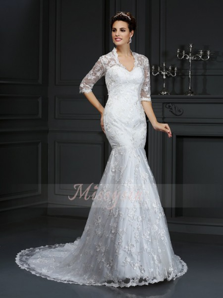 Trumpet/Mermaid V-neck Court Train Lace 1/2 Sleeves Lace Wedding Dresses