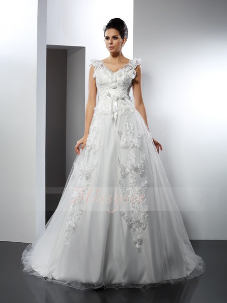 A-Line/Princess Straps Cathedral Train Satin Sleeveless Lace Wedding Dresses