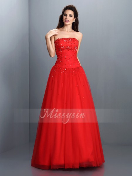 Ball Gown Strapless Floor-Length Organza Sleeveless Beading Dresses
