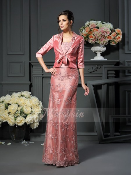 A-Line/Princess Straps Floor-Length Taffeta Sleeveless Lace Mother of the Bride Dresses