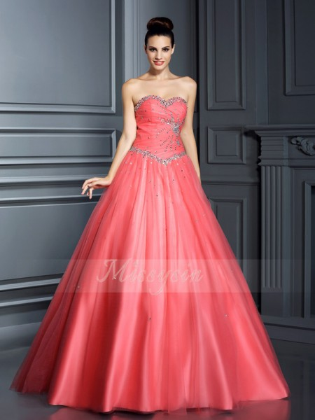 Ball Gown Sweetheart Floor-Length Net Sleeveless Beading Dresses
