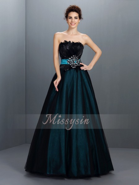 Ball Gown Strapless Floor-Length Elastic Woven Satin Sleeveless Feathers/Fur Dresses