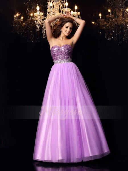 Ball Gown Sweetheart Floor-Length Elastic Woven Satin Sleeveless Sequin Dresses