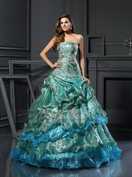 Ball Gown Sweetheart Floor-Length Tulle Sleeveless Applique Dresses