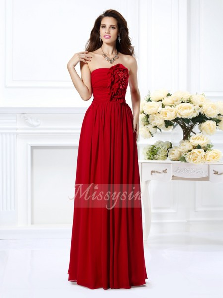 A-Line/Princess Strapless Floor-Length Chiffon Sleeveless Hand-Made Flower Bridesmaid Dresses